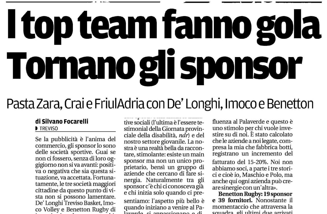 Cresce la voglia di investire nello sport: Treviso Basket una realtà in crescita.