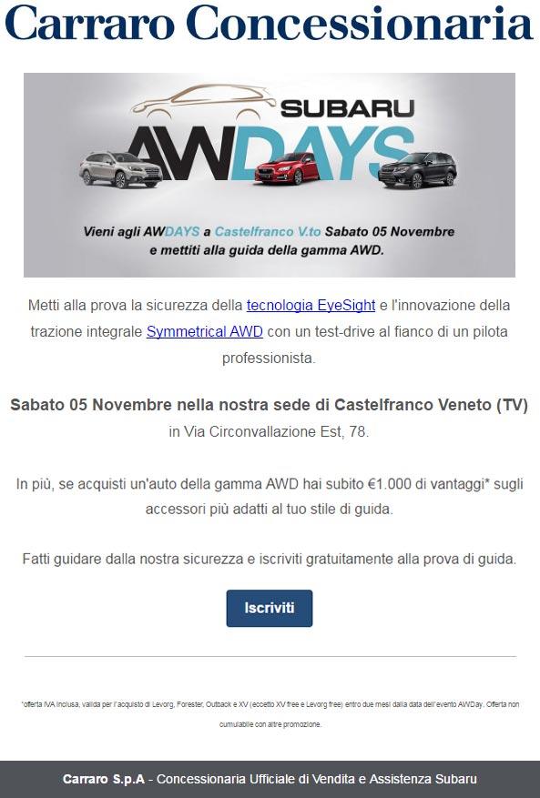 Carraro Concessionaria - Subaru AWDAYS