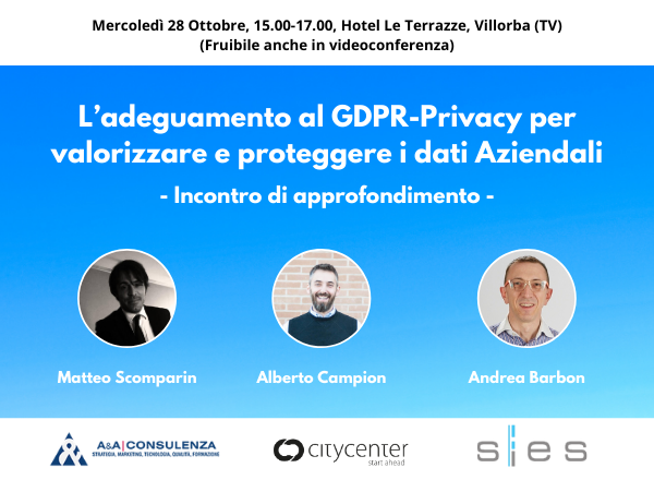 GDPR e Privacy per i dati aziendali: l'evento gratuito del consorziato A&A Consulenza!